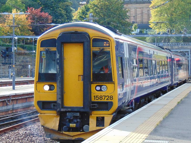 Abellio ScotRail Class 158 Express Sprinter no. 158728 at Edinburgh Waverley.