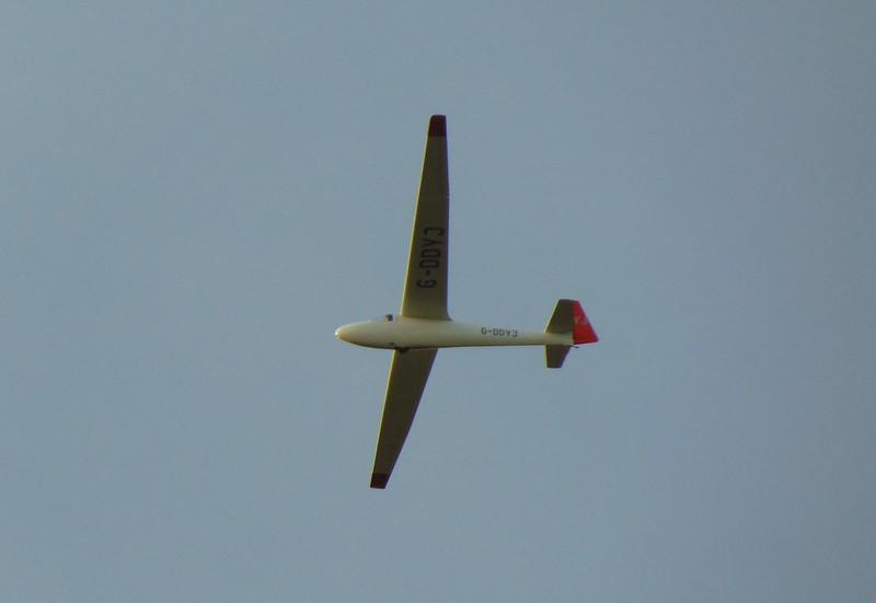 Schleicher Ka6 gilder G-DDYJ after taking off from Haddenham Airfield.