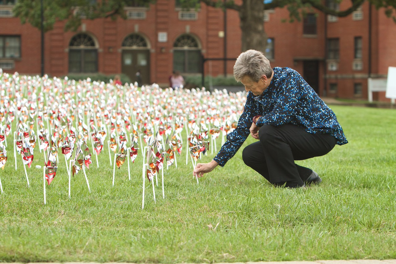 Pinwheels honoring GWU Donors planted on the quad; Fall 2015. #Plantyourpinwheel