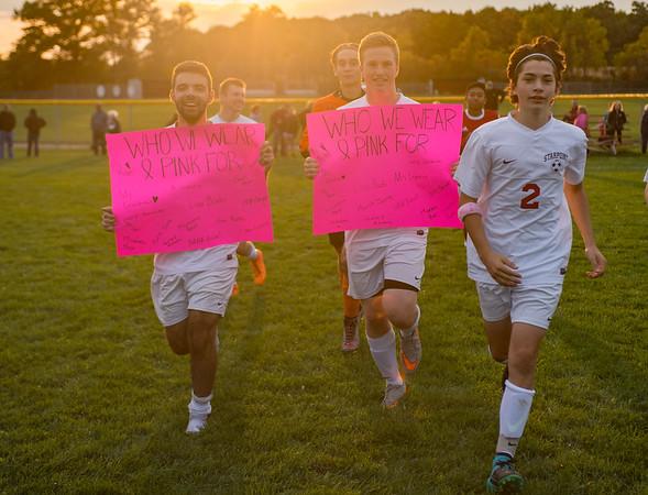 JOED VIERA/STAFF PHOTOGRAPHER-Pendleton, NY-Dan Jaenecke, Hunter Lemieux and Drew Santangelo run after the game.