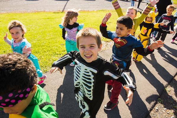 JOED VIERA/STAFF Lockport, NY-Charles Upson students march in a halloween parade.