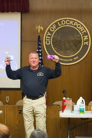 JOED VIERA/STAFF Lockport, NY-New York State Police Bomb Disposal Unit Officer Brian Pazderski speaks during a Methamphetamine panel at City Hall.