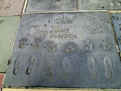 Hand, Foot and Wand Prints of Emma Watson, Daniel Radcliffe and Rupert Grint at Grauman's Chinese Theater