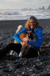 Susan and Niseko at Rialto Beach