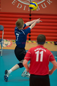 Men's Plate Final, South Ayrshire II 0 v 3 Su Ragazzi II (18, 23, 15), University of Edinburgh, Centre for Sport and Exercise, 18 April 2015.   © Lynne Marshall