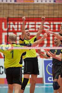 Men's Cup Final, Glasgow Mets 3 v 0 Nuvoc (23, 23,17), University of Edinburgh, Centre for Sport and Exercise, 19 April 2015.  © Lynne Marshall