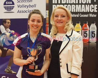 Scottish Volleyball Association, Girls Junior Super Cup Final, Lanarkshire Ragazzi 0 v 2 Marr College (21, 12), University of Edinburgh Centre for Sport and Exercise, Sun 19th Apr 2015. © Michael McConville