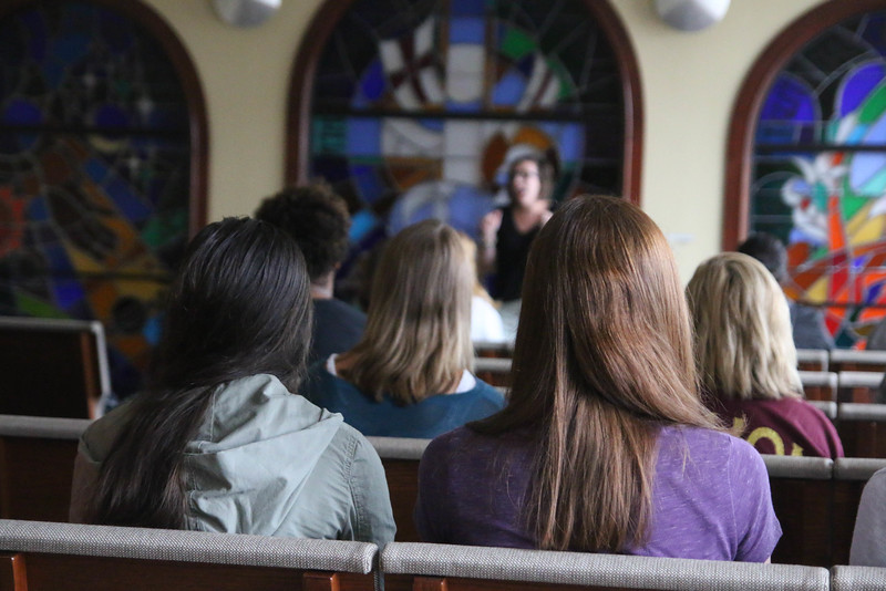 "For the girls' breakout session, Rachel Rushing taught a lesson titled ""What it Means to be a Woman of God"" and spent some time asking for personal prayer requests and getting to know them."
