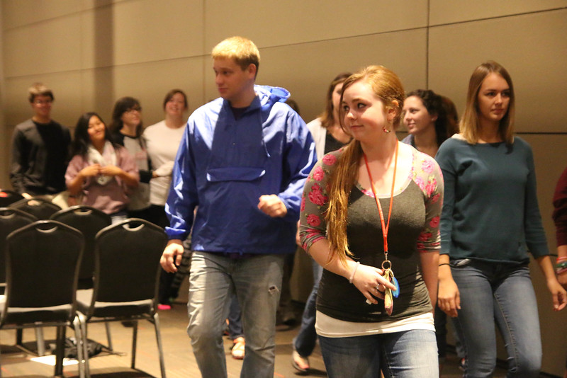 """Students met again on Saturday morning at 9:00 to finish off the retreat. The morning began with another game called """"Ships & Sailors,"""" another game that encourages students to meet new people."""