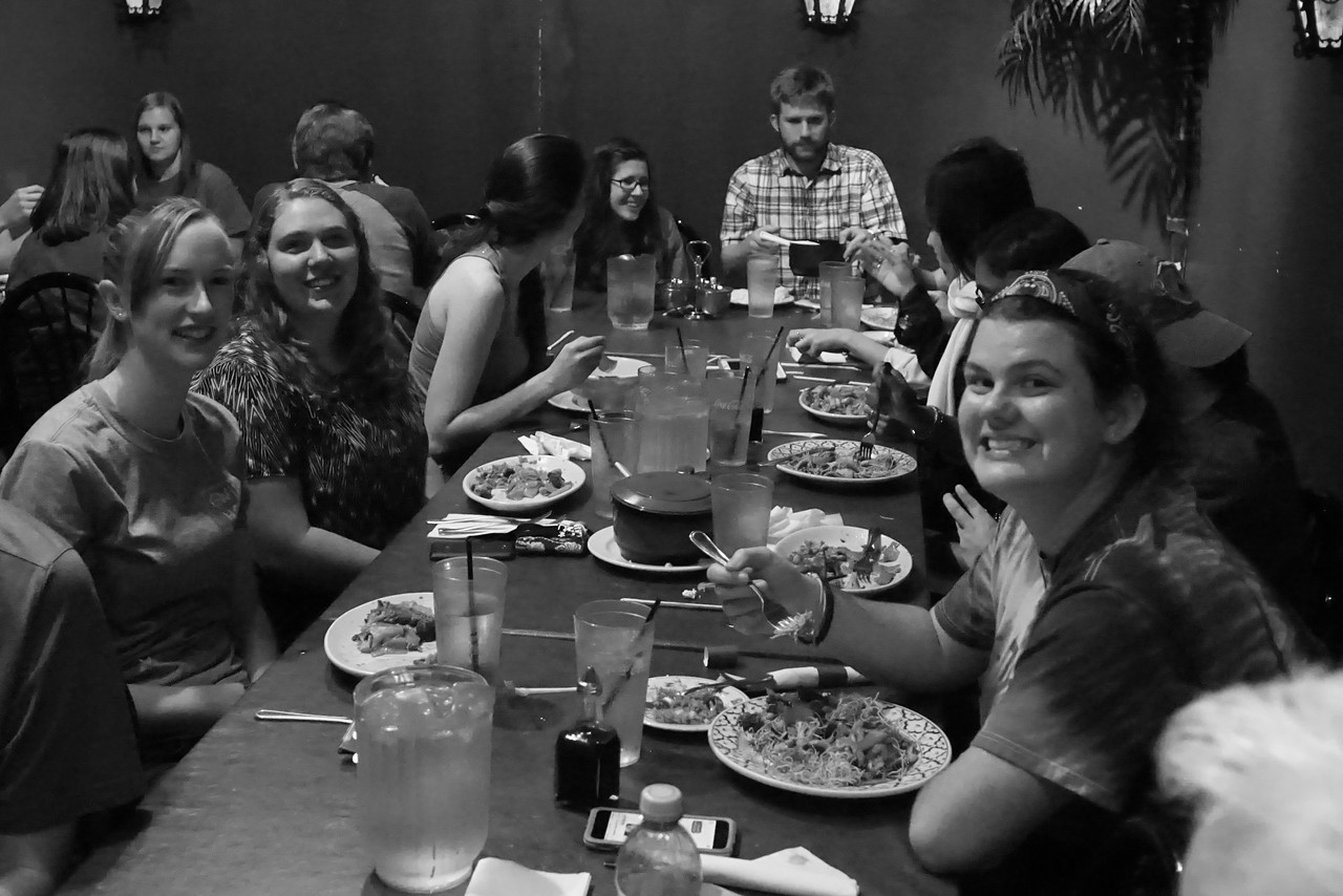 "Students smile for the camera. Honors Students Travel to Bangkok Cafe in Spartanburg to ""Try Something Different"" with Thai food."
