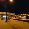 Milton Keynes Central station at midnight.