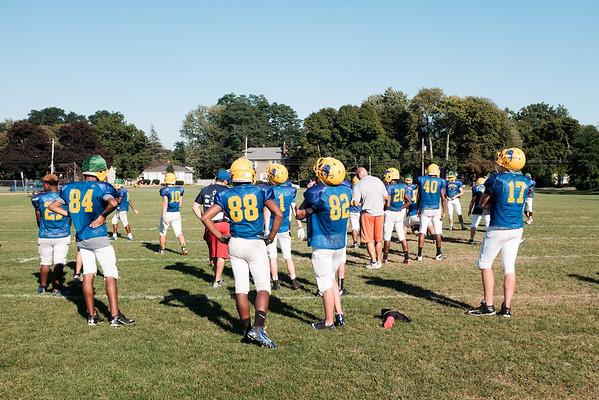 JOED VIERA/STAFF PHOTOGRAPHER-Lockport, NY-The Lockport Varsity Football team practices after school.