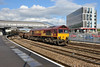 1 September 2015 :: 66025 is passing through Newport with 6V75 from Dee Marsh to Margam