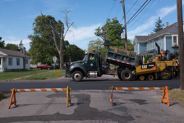 JOED VIERA/STAFF PHOTOGRAPHER-Lockport, NY-Crews pave Hawley Street.