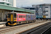 """1 September 2015 :: 153325 in """"citizensrail.org"""" livery is seen at Cardiff Central waiting to form 2C79, the 1400 to Taunton"""
