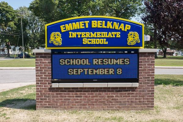 JOED VIERA/STAFF PHOTOGRAPHER-Lockport, NY- A sign in front of Emmet Belknap Intermediate School.