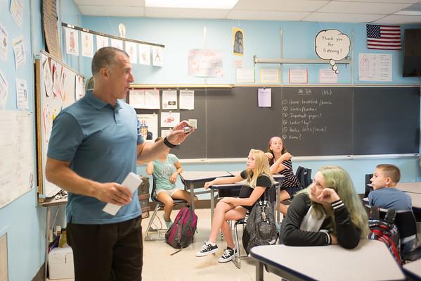 JOED VIERA/STAFF PHOTOGRAPHER-Lockport, NY-Tim Tolli speaks to his 6th grade class at Emmet Belknap Intermediate School.