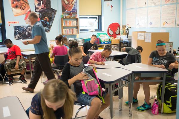 JOED VIERA/STAFF PHOTOGRAPHER-Lockport, NY-Tim Tolli's 6th grade class starts at Emmet Belknap Intermediate School.