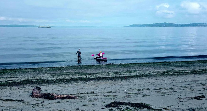 Open water swim lesson with Guila Muir at Alki.
