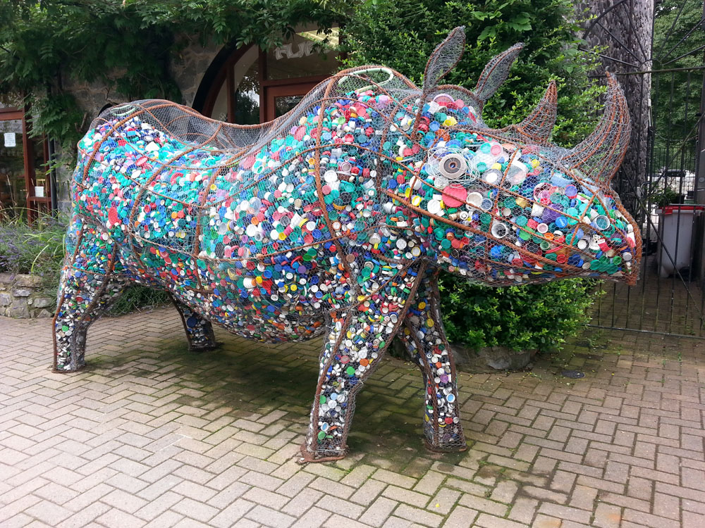 Then we encountered this rhino made of recycled bottle caps, whom we all loved!