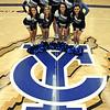 2014-15 Cheer and Pom Squad: (1st row) Bre Goben, Ashley Spagnolo, Makenna Morris, Sheyli Thomas; (2nd row) Courtney Lovelace, Bailey Kinney, Brittany Eckerberg, Andrea Bowman, Coach Lindsey Eckert