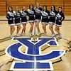 2014-15 Cheer and Pom Squad: (l-r) Bre Goben, Ashley Spagnolo, Courtney Lovelace, Bailey Kinney, Brittany Eckerberg, Andrea Bowman, Makenna Morris, Sheyli Thomas