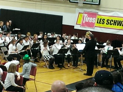 Noah's band concert was in the evening of St. Patrick's Day