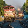 Outbound Fitchburg Line train 423 passes Inbound 458 at Belmont.