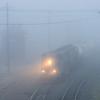 Pan Am's Adams Branch Local, AD - 1, departs East Deerfield in the morning fog.
