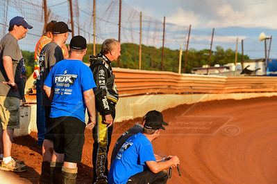 Clint Bowyer Racing crews look on at track prep