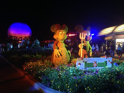 Farmer Minnie and Mickey Topiaries with the Epcot Ball at the 2015 Epcot International Flower and Garden Festival