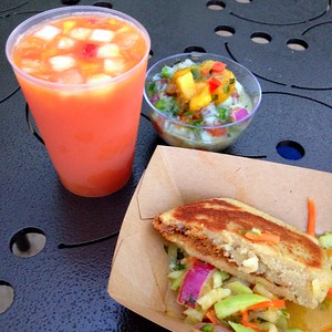 Seafood Ceviche, Braised Beef and Chayote Slaw Arepa and La Tizana Fruit Drink From the Botanas Botánico Booth at the 2015 Epcot International Flower and Garden Festival