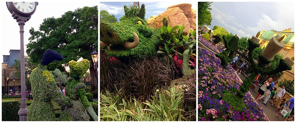 Topiaries at the 2015 Epcot International Flower and Garden Festival - Cinderella and Prince Charming, Pumbaa and Timon, and Cogsworth and Lumiere