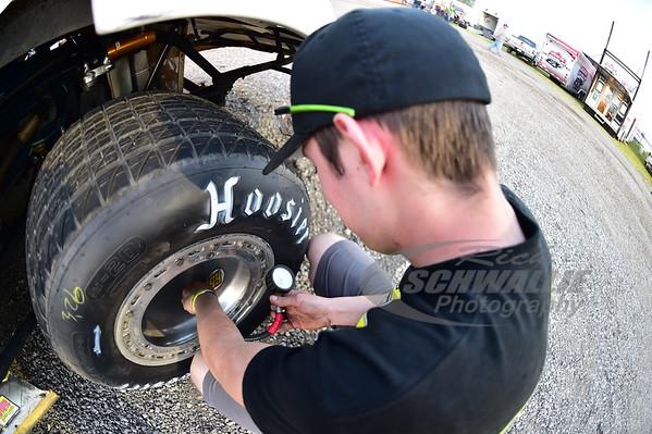 Wylie Moran checks tire pressures