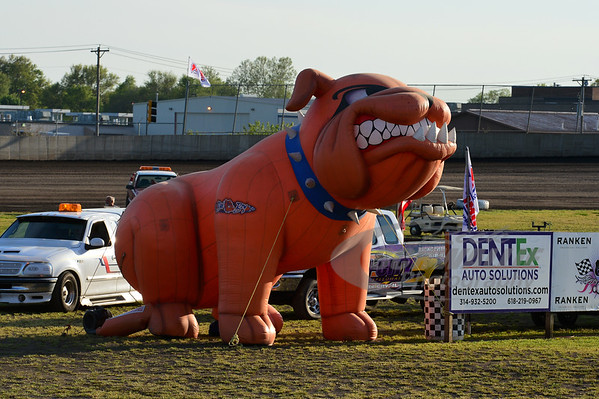 """Bad Boy Mowers """"dog"""" on display in the infield"""