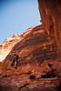 Noah explores the fun moves on <i>Ace of Hearts 5.10d</i> at Red Rocks State Park, Nevada.