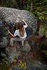 Noah works a boulder problem at Glacier Point.