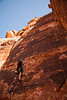 Ezra explores the fun moves on <i>Ace of Hearts 5.10d</i> at Red Rocks State Park, Nevada.