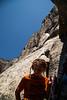El Capitan looms high over Noah after finishing <i>Moby Dick 5.10</i>.