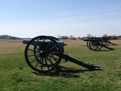 Confederate Canons pointed across field at Union soldiers - David and Phyllis Oxman