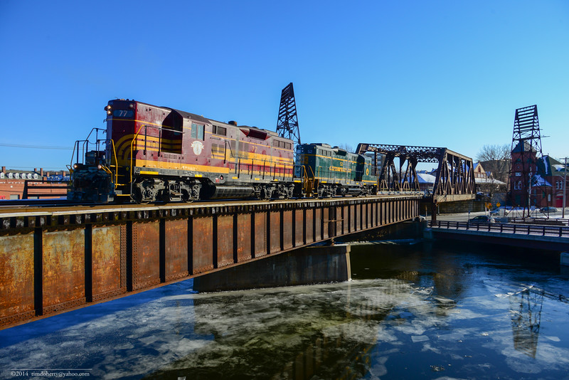 Pan Am's ED-4 local heads north on the Lyman Street bridge over Second Level Canal in Holyoke.