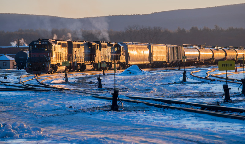 A very cold sunrise at East Deerfield yard on January 8th, 2015.