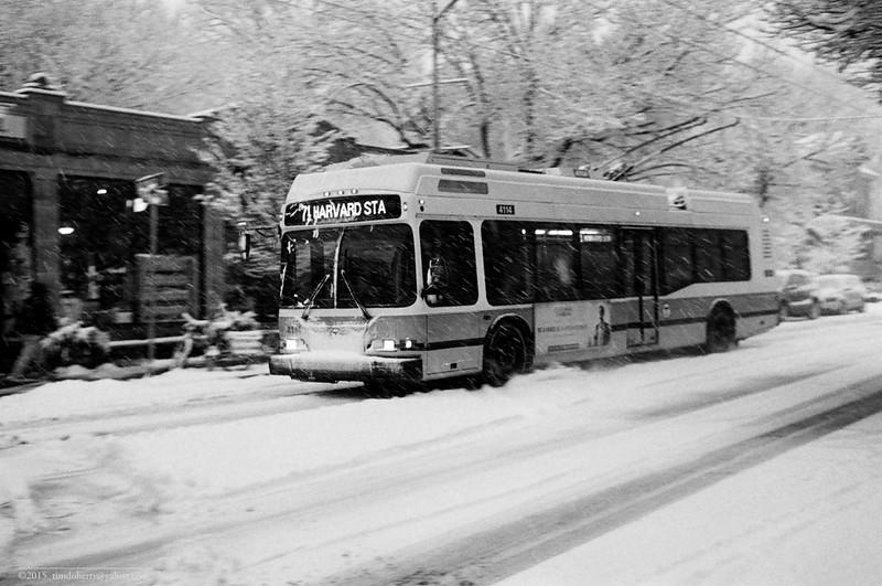 An MBTA trackless trolley moves through the snow on Mount Auburn Street on January 24, 2014.