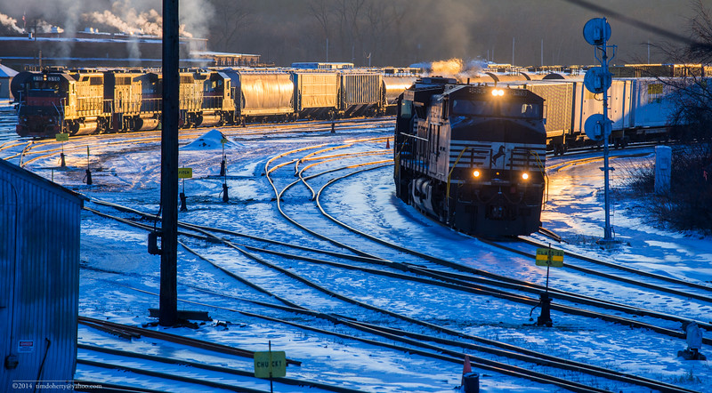Westbound Intermodal train 23K passes by East Deerfield yard at sunrise on January 8, 2015.
