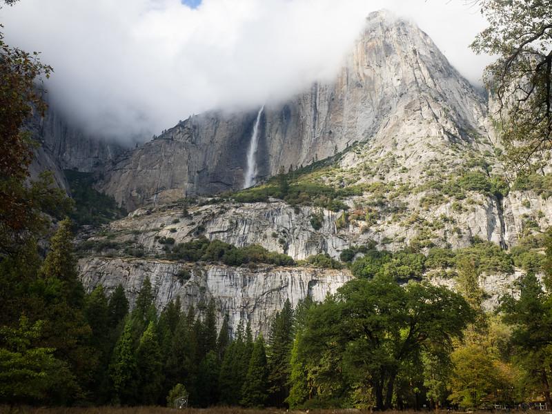 Veil of fog at the top of Yosemite Falls.