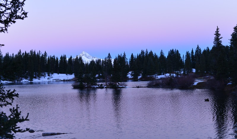 Snow on Wilson Peak from Alta Lakes at Sunrise November 1