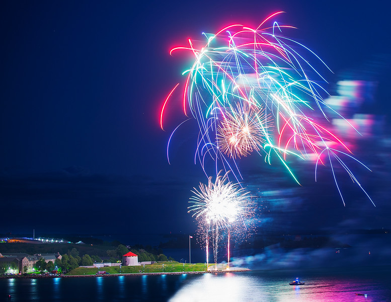 Canada fireworks at Kingston, Ontario. 1 July 2015.