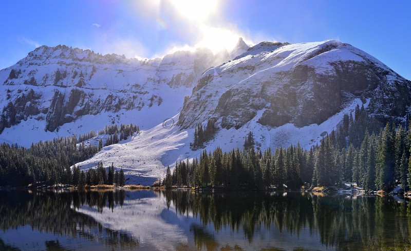 Fresh Snow Reflection above Alta Lakes