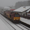 67025 arrives at Aviemore during heavy snow fall in the first day of operation for Serco as the new operator of Caledonian Sleeper 21:15 London Euston - Inverness 01/04/15