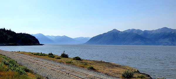 Leaving Anchorage, heading east-then-south on the Seward Highway.   A very scenic 150+ miles ahead.
